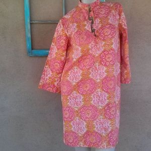 1970s Indian Cotton Batik Dress Shirt Sz S M